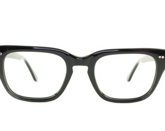 "Vintage Deadstock 60's Shuron ""Mitch"" Eyeglass Frames USA in Black Plastic - FREE Domestic Shipping"