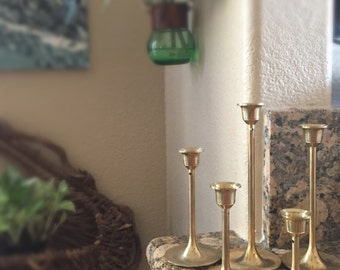 vintage solid brass tulip candle holder votives with candles // set of 5