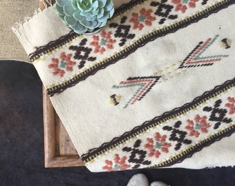 vintage woven aztec fringe small mini rug / table cloth / beige floral