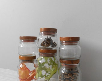vintage glass storage jars with wooden lids / hermetic / glass kitchen jars