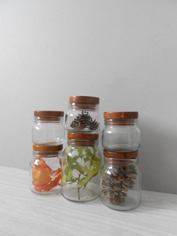 vintage glass storage jars with wooden lids hermetic glass. Black Bedroom Furniture Sets. Home Design Ideas