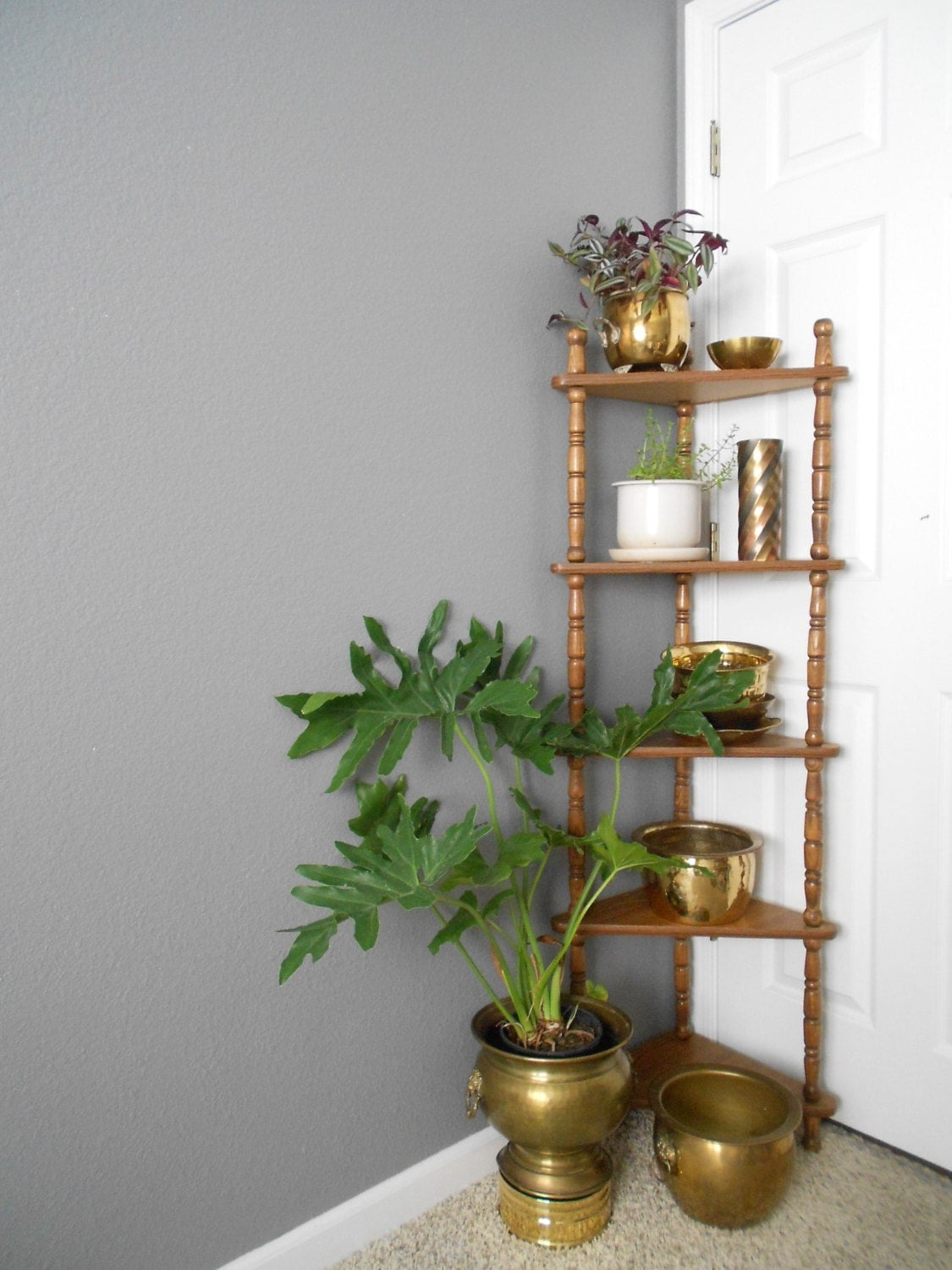 Tall five tiered wooden corner shelf plant stand wall - Corner shelf for plants ...