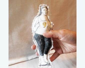 doll Real People woman Ann original art drawing handmade textile  OOAK fabric soft sculpture