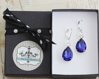 Sapphire Blue Bridesmaid Earrings Set of 4 Pairs Crystal Earrings Pear Teardrop Cobalt Bridesmaid Gift Blue Wedding  - Clip Ons Available