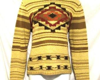 Indian Design Petite Sweater PENDLETON Beige Pullover sz P/S