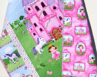 SALE Princess Baby Quilt, Castle Unicorn Carriage, Bedding, Blanket, Crib, Pink Green Purple, Horses Flowers, Modern, Infant, Children