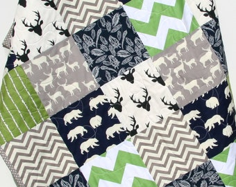 Woodland Quilt, Rustic, Baby Boy, Nursery, Deer Baby Quilt, Toddler, Gray Deer, Stag Baby Blanket, Chevron, Navy Blue, Feather Crib Quilt