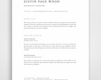 professional resume template resume template mac resume template word modern resume template - Minimalist Resume Template