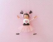 Teeny Ladies Pink Micro Miniature Wooden Clothespin Peg Doll Ornament