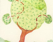 Wayward Tree, ACEO, ATC, Collectible Art, OOAK watercolor painting