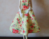 """Handmade dress, bag, gloves,hat and shoes to fit 11.5"""" collectors fashion dolls. Collectors doll clothes."""