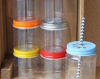 Plastic Mason Jars, 20 Plastic Jars, 17OZ Mason Jar Cups With Lids, Wedding Favors, Table Setting, Baby Shower Favors, Tableware, Favors