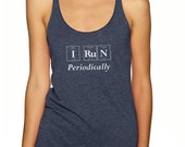Periodic Table Inspired I RUN PERIODICALLY Tank Top by Periodically Inspired, Vintage Blue Racerback Tri-blend - Summer Science Tanks