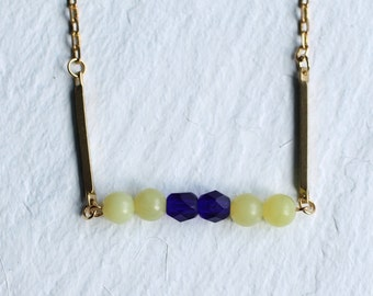 Yellow Industrial Necklace ... Frosted Lemon Royal Blue Vintage Beads