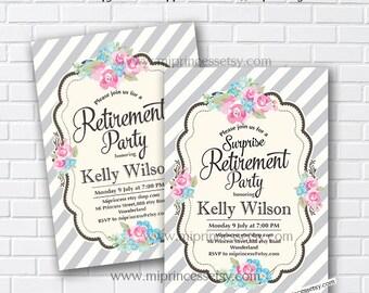 Retirement Invitations,  Retirement party rose floral Retirement Celebration  shabby chic flowers  - card 602