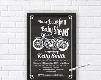 Motorcycle baby shower Invitation , baby boy, it's a boy invitation, baby boy shower, OR birthday invitation vintage bike- card 668