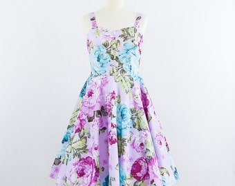 Floral bridesmaid dress, Lavender and Roses Dress- sleeveless dress with sweetheart neckline.