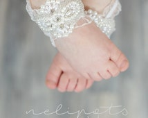 Baby Barefoot Sandals,Toddler Jewelry, Christening Shoes, Newborn Sandals,Flower Girl, Shower Gift,Photo Prop,PIRI design