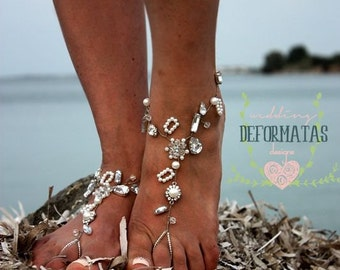 Wedding Barefoot Sandals,Pearl Barefoot Sandles,Bridal Jewelry,Slave Anklet,Beaded,Pearl and Rhinestone Beach Wedding Shoes,HALE design
