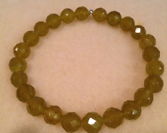Korean Jade 8mm Faceted Stretch Bead Bracelet with Sterling Silver Accent