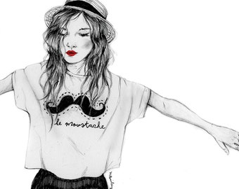 Le Moustache, pencil drawing fashion illustration, A4 print