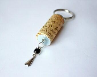 Decorative Wine Cork Keychain, Rhinestone Charm Cork Keychain, Cork Keychain, Keychain, Charm Keychain, Charm