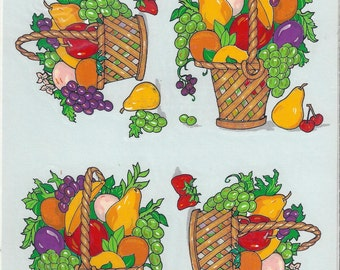 Fruit Baskets Vintage Handpainted Decorcal Decals, C1986