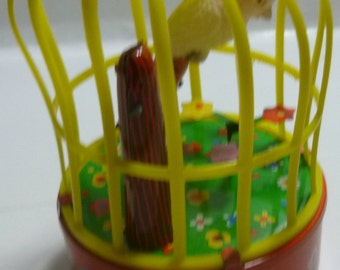 Yone Singing Bird in Cage Vintage Wind Up Toy, C1950s