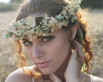EVERLASTING Flower Crown Unique Handmade Rare Antique Silk Flowers and  Dried Hydrangea Boho Wedding Bridal Special Occasion