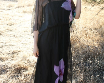 SHADOW Maxi Dress 1970's Vintage Black Boho Flutter Sleeve Big Purple Tropical Flowers