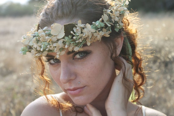 EVERLASTING Flower Crown Unique Handmade Rare Antique Silk Flowers and  Dried Hydrangea Boho Wedding Bridal Special Occasion