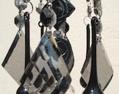 Crystal Wind Chime - Chandelier Crystals Windchime - Black Satin Beauty