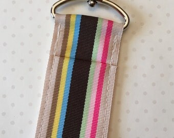 Sandcastle Ribbon Chapstick Holder- Tan, Brown, Pink, Yellow, Green and Blue Stripe Lip Balm Holder