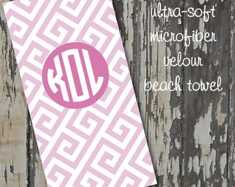 monogrammed GREEK beach towel - huge 30x60 ultra-soft microfiber velour