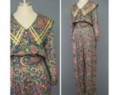 Vintage 80s Jumpsuit - Floral Jumpsuit - Sailor Collar Harem Pant Jumpsuit - 1980s Jumpsuit - Tapestry Floral Print Onesie Pantsuit - M