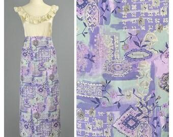 SALE - Silk Skirt Bohemian Skirt 90s Skirt Tribal Print Long Floral Skirt Purple Sage Green 1990s Skirt Boho Maxi Skirt