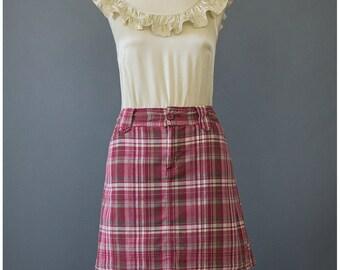 SALE - Plaid Mini Skirt with Shorts 90s Skirt Skort Skater Skirt Cotton Skirt 1990s Skirt Brown Red Burgundy Madras Plaid Skirt