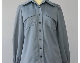 SALE - 70s Shirt Jacket Mod Shirt Slate Grey Shirt Pointy Collar Long Sleeve Shirt Button Up Shirt Emo Indie Hipster 1970s Shirt