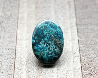 Chrysocolla Gemstone Cabochon, Natural Blue Green Stone, 41.10ct , 34x25mm - O1