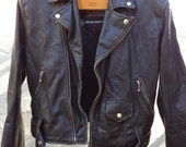 Gotta Go SALE 50% off // Rocker Cool // vintage Atelier distressed black cowhide leather motorcycle jacket L // Must SEE