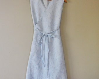 Upcycled Wrap Dress/Powder Blue Sleeveless Wrap/Handsewn Wearable Art