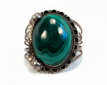 Navajo Malachite Bracelet, Sterling Silver, 91 Grams, Cuff Bracelet, Vintage Jewelry, Estate Bracelet, Native American, Unisex Bracelet