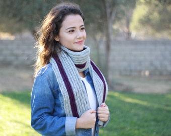 Winter long scarf, Women crochet scarf, Women long scarf, Crochet women scarf, Grey wool scarf, Knit long scarf, Crochet wool scarf