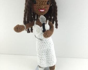 Whitney Houston Inspired Amigurumi Crochet Doll / Action Figure