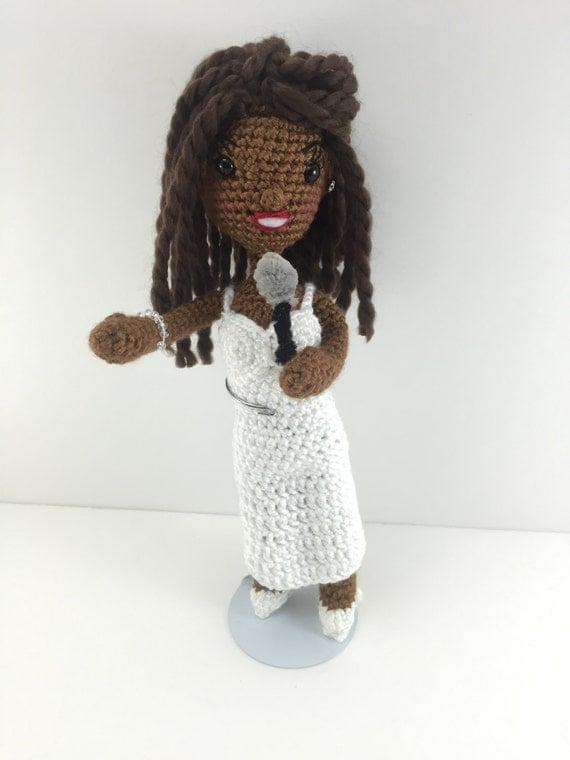 African American Black Doll Whitney Houston Inspired Amigurumi