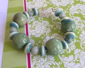 Ceramic Beads on Silver Wire Bracelet