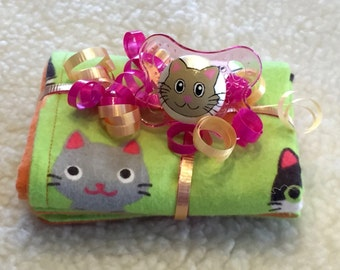Katiana Kitty Burp Cloth & Pacifier Gift Set by PiquantDesigns