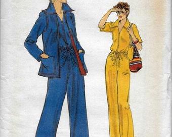 Vogue 9735 Misses 70s Straight Legged Jumpsuit & Hip Length Vest Sewing Pattern Size 10 Bust 32.5