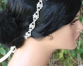 SNOWFLAKE RHINESTONE HEADBAND with a Snowflake Brooch and Thick Rhinestone Bands, Winter Wedding, Bridal Ribbon Headband, Hair Accessory