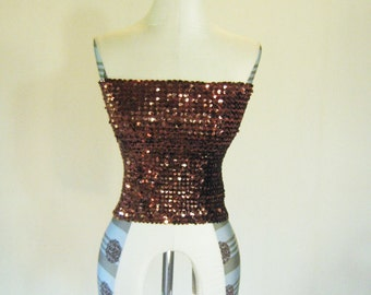 Brown Sequin Tube Top Diva Glam